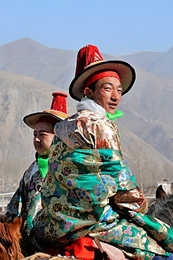 China, Gansu, Amdo, Xiahe, Monastery of Labrang Labuleng Si, Losar New Year festival, Tibetan Horse Guards