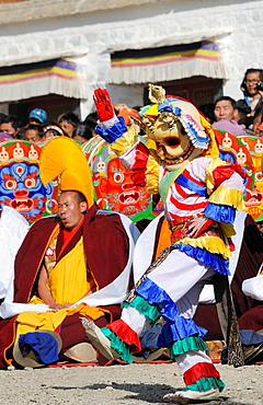 China, Gansu, Amdo, Xiahe, Monastery of Labrang Labuleng Si, Losar New Year festival, Skeleton dance