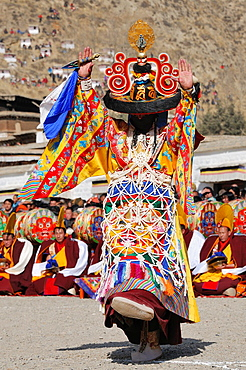 China, Gansu, Amdo, Xiahe, Monastery of Labrang Labuleng Si, Losar New Year festival, Cham Dances, Black Hat dance