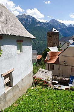 Traditional House facade in Small village of Gistain  Chistau Valley, Huesca Pyrenees, Aragon, Spain