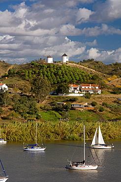 Panoramic view with Guadiana river, Spanish-Portuguese border, Sanlucar de Guadiana, Huelva-province, Spain