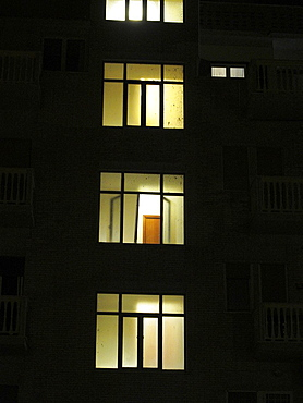 lights in apartment block at night