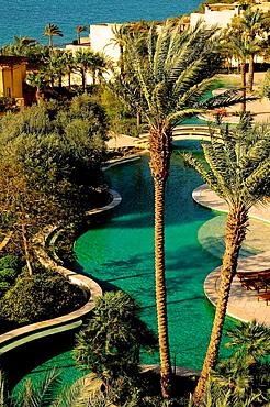 Swimming pool, Kempinski Hotel, Dead Sea, Jordan, Middle East.