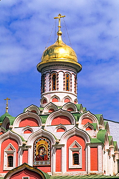 New Architecture of the Kazan Icaon of Mother of God Church Red Square in Moscow Russia