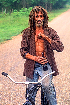 Colorful portrait of native man with dreadlocks in Belize
