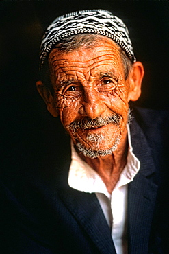 Portrait of wrinkled man in the old section of Jerusalem Israel
