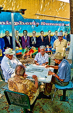 Retired local men playing dominoes in Little Havana Miami
