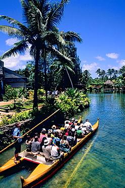 Polynesian Cultural Center Tourist Boats Guided Thru Beautiful Village in Hawaii USA