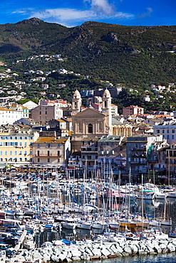 France, Corsica, Haute-Corse Department, Le Cap Corse, Bastia, The Old Port, elevated view