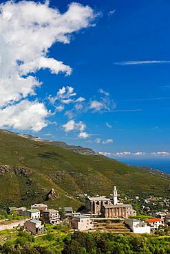 France, Corsica, Haute-Corse Department, Le Cap Corse, Bastia Corniche, San Martino di Lota, elevated town view