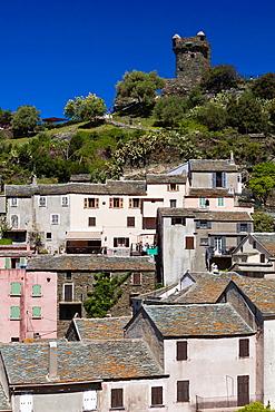 France, Corsica, Haute-Corse Department, Le Cap Corse, Nonza, elevated town view with the Tour de Nonza tower