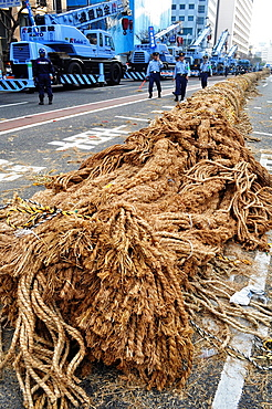 Naha, Okinawa, Japan, the big rope along the Route 58 during the Tug of war Festival, October