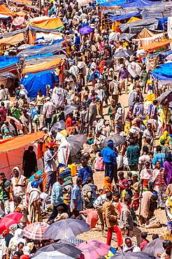 Crowded Lalibela market, Amhara region, Northern Ethiopia