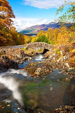 Ashness Bridge and stream in autumn, Lake District National Park, Cumbria, England, UK, Europe