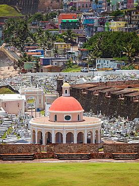Cementerio de Santa Maria Magdalena de Pazzis, a cemetery in old San Juan, La Perla district in background, Puerto Rico