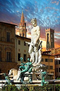 The Fountain of Neptune by Bartolomeo Ammannati 1575, Piazza della Signoria in Florence, Italy,