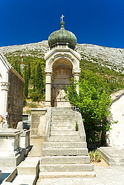 The cemetery near the church of Our Lady of Karmen above Orebic, the final resting place of Peljesac-born captains, Croatia
