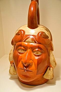 Ceramic vessel, portrait vessel Moche culture 100 AC-800 AC Peru