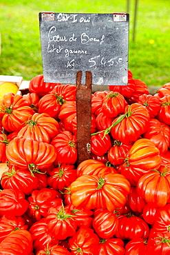 Tomatoes, Food Market, Hendaye, Aquitaine, Pyrenees Atlantiques, France.