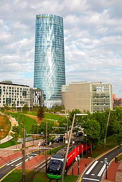 Abandoibarra Avenue, Iberdrola tower, Bilbo-Bilbao, Biscay, Basque Country, Spain.