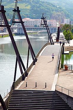 Uribitarte Bridge, Euskalduna building, Bilbo-Bilbao, Biscay, Basque Country, Spain.