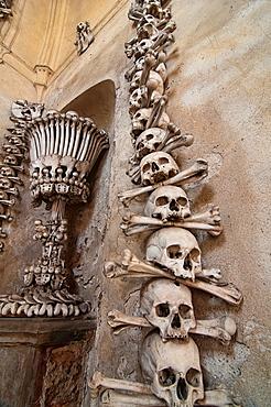 The Bizarre Bone Church At Kutna Hora, Near Prague, Czech Republic, Where Everything Is Made Out Of Human Bones