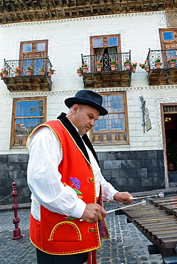 Xylophone Player In Front Of The Casa De Los Balcones, La Orotava, Tenerife, Canary Islands, Atlantic Ocean