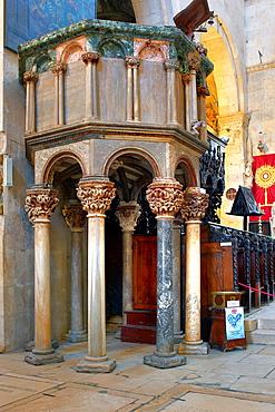 Interior of cathedral of St Lawrence, Trogir, Dalmatia, Croatia