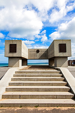 US National Guard memorial in Vierville Sur Mer, Omaha Beach, Normandy, France, to commemorate the D-Day landings