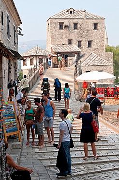 People on the Old Bridge, Mostar, Bosnia and Herzegovina