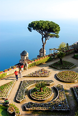 View from Villa Rufolo to the Gulf of Salerno and the spires of the church Chiesa dell¥Annunziata, Ravello, Campania, Italy, Europe