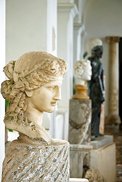Antique roman sculptures in the loggia of Villa San Michele, Isle of Capri, Capri, Province of Naples, Campania, Italy, Europe