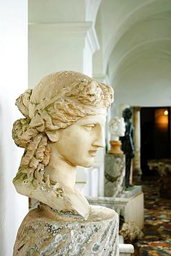 Antique roman sculptures in the loggia of Villa San Michele, Isle of Capri, Capri, Province of Naples, Campania, Italy, Europe
