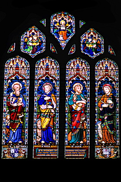 Fowley Parish churchs beautiful stained glass in Fowley England