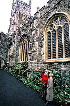 Tourists at Fowley parish church in Fowley England