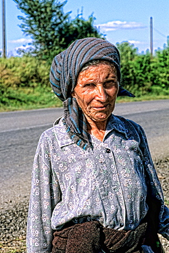 Albania close up of woman outside Tirana Albania