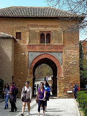 Granada Spain Puerta del Vino in the Alhambra in Granada