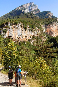 Hikers walking in Anisclo Valley, canyon belonging to Ordesa y Monte Perdido National Park Pyrenees Fanlo Huesca province Aragon Spain