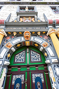 Detail of the portal of the city hall in Hannoversch Muenden on the German Fairy Tale Route, Lower Saxony, Germany, Europe