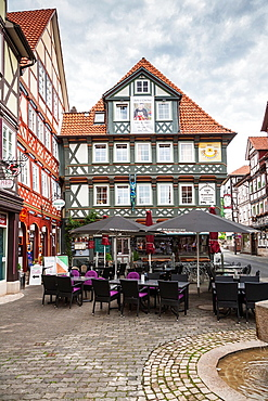 Timbered houses in Hannoversch Muenden on the German Fairy Tale Route, Lower Saxony, Germany, Europe