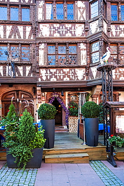 Close up of a charming traditional house in the town of Saverne, Alsace, France, Europe