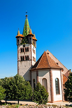 The historic Saint-Georges church Eglise Saint-Georges in Chatenois, Alsace, France, Europe