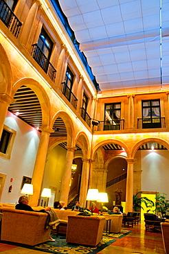 Courtyard and lounge. Parador, Lerma, Burgos province, Castilla Leon, Spain.