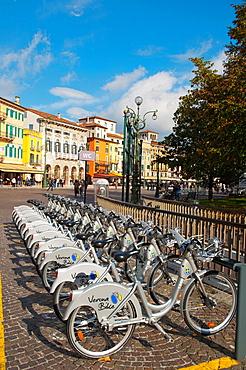 Verona bike cycling scheme bicycle stand Piazza Bra square central Verona city the Veneto region northern Italy Europe