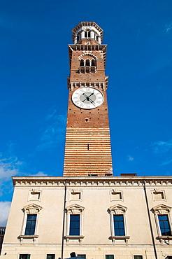 Torre dei Lamberti 1463 Piazza delle Erbe square old town Verona city the Veneto region northern Italy Europe