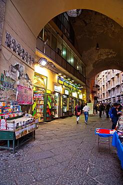 Bookshops along Port Alba alley off Piazza Dante square central Naples city La Campania region southern Italy Europe