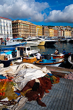 Fishing boats and nets Molo di Mergellina port Mergellina district Naples city La Campania region southern Italy Europe