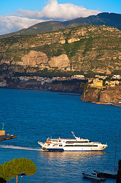 Hydrofoil departing Marina Piccola harbour area Bay of Naples at Sorrento resort town La Campania region southern Italy Europe