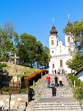 The Benedictine Abbey of Tihany is one of the main attractions of the Balaton area Europe, Eastern Europe, Hungary, Tihany, October