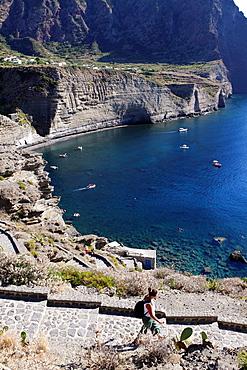 Elevated view of Pollara bay, Salina, Aeolian islands, Sicily, Italy